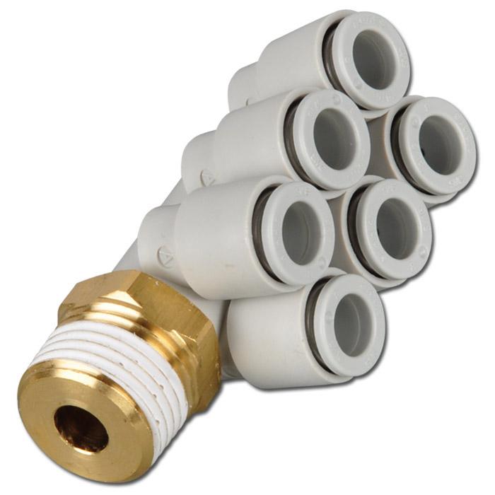 Stickkoppling - 90° - för 6 slangar - utvändig gänga - utvändig 6-kant