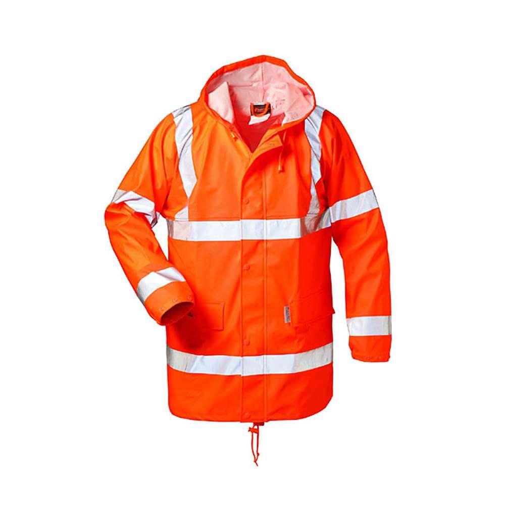 """Visibilità PU Rain Jacket """"Finn"""" - Norvegia - fluorescente arancio - Taglie S-XXXL"""