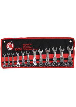 Spärrringnyckel set - 180 ° tiltbar spärr ring huvud - extra kort - 12 st.