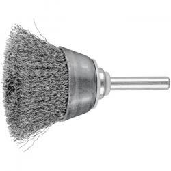 Topfbürste - PFERD - ungezopft, aus Stahldraht - mit Schaft - für Baustahl u.a. - Bezeichnung TBU 4015/6 ST 0,20 - Gesamtlänge 70 mm - Bürsten-Ø 40 mm - Besatzmaße (B x L) 15 x 20 mm