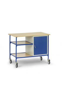 Rolling table - with 2 shelves made of wood and steel cabinet 1