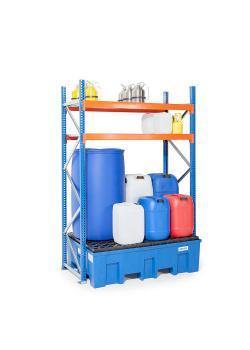Fass- und Kleingebinderegal Typ GKS 1250 - Auffangwanne aus Kunststoff (PE) - 2 Gitterrostböden
