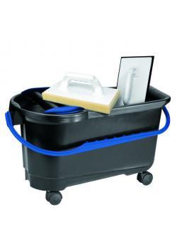 Kakel tvätt set - tvätt hink 22 L - med hjul - med två tvättbräda