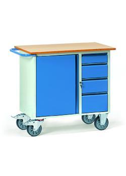 Wózki warsztatowe - 1 szafka i 4 szufladami