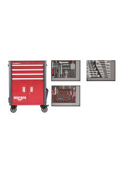 GEDORE punainen työkalusarja työpajavaunussa WINGMAN - teräslevy - 129 kappaletta