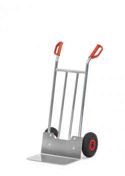 Alu hand truck - 150 kg - height 1150 mm - wide blade - air / solid rubber