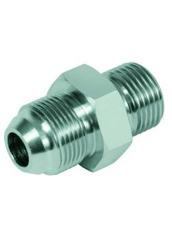 """Straight adapter KOMATSU - chrome-plated steel - metr. AG M14 x 1.5 to M33 x 1.5 mm on BSP-AG G 1/4 """"to G 1"""""""