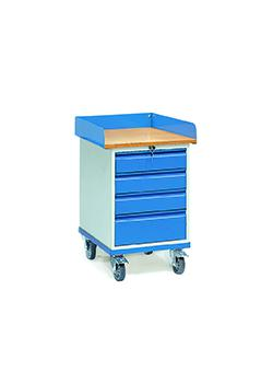 Roll cabinet with countertop - with collar and 4 drawers