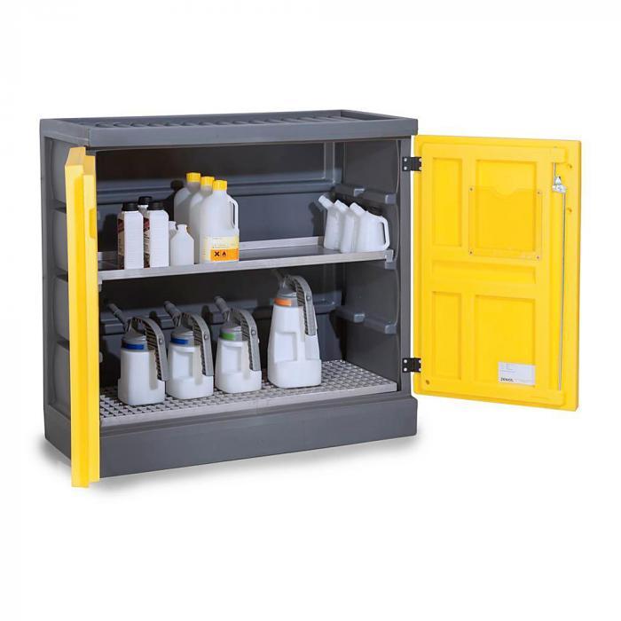 Umweltschrank PolyStore - Typ PS 1211.1.1 - Kunststoff - Breite 610 mm - 1 Auffangwanne, 1 Gitterrost Edelstahl oder verzinkt
