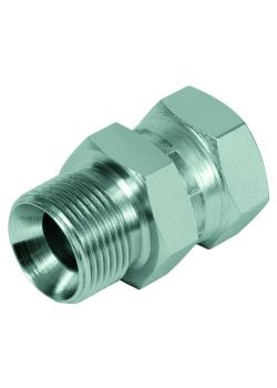 """Straight adapter - Chrome-plated steel - AG G 1/8 """"to G 2"""" to IG with union nut G 1/8 """"to G 1 1/4"""""""