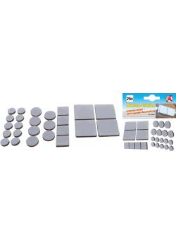 Sliding glides - in round and square shape - thickness 4 mm - 25 pcs.