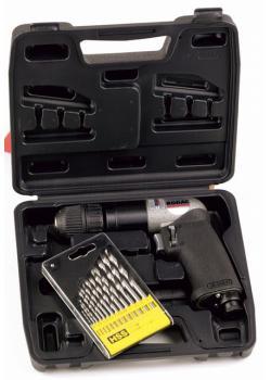 Druckluft - Bohrmaschine 10mm in Koffer mit Zubehör - Leistung KW - 0,5 - Links-
