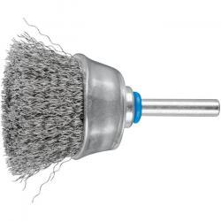 Topfbürste - PFERD - ungezopft, aus INOX - mit Schaft - für Edelstahl - Bezeichnung TBU 4015/6 INOX 0,20 - Gesamtlänge 70 mm - Bürsten-Ø 40 mm
