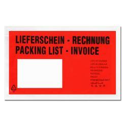 """Dokumententaschen - 240x138 mm - DIN-lang - mit Druck """"Liefersch./Rechg."""" - VE 1000 Stück"""