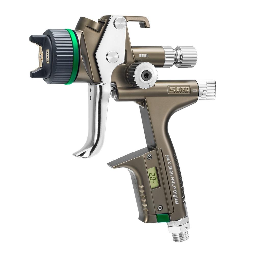 SATAjet X 5500 HVLP DIGITAL - Lackierpistole -  RPS-Einwegbecher 0,6 l / 0,9 l (je 1x) - mit Drehgelenk - für KFZ, Maler, Tischler und Industrie