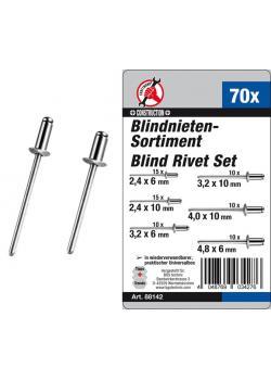 Blind rivet assortment - in different sizes - 70 pcs.