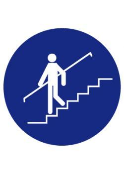 """Påbudsskylt """"använd trappräcke"""" - Ø 5-40 cm"""
