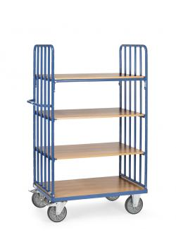 Shelved trolley - 4 shelves made of wood - end walls with struts