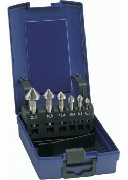 Kegel- und Entgratersenker-Satz D335CHSSE - Nenn-Ø 6,3 bis 20,5 mm - Spitzenwinkel 90°  - Schneiden 3 Stück - in Kunststoffrundbox