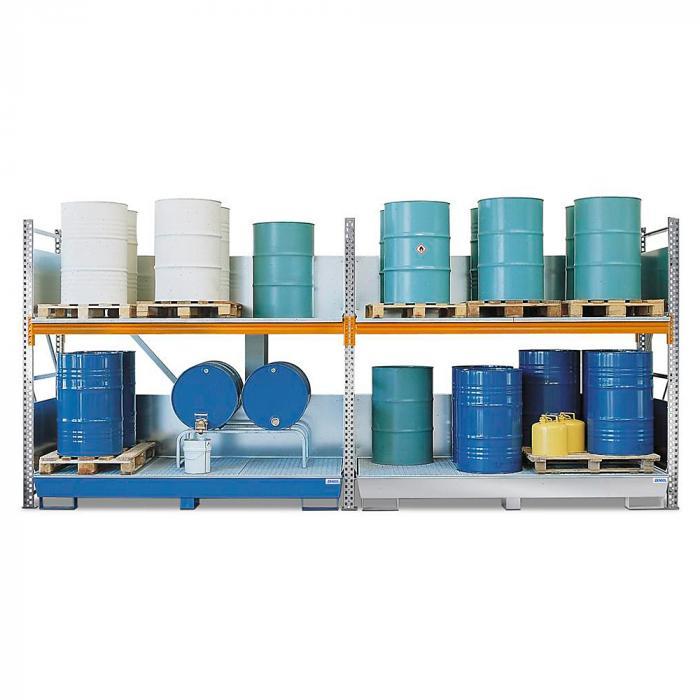 Combi-Regal 2 S16-I - mit Auffangwanne - für 16 Fässer à 200 Liter stehend