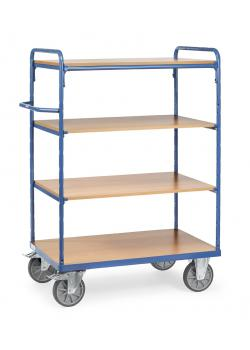 Shelved trolley - up to 600 kg - with 4 floors of wood