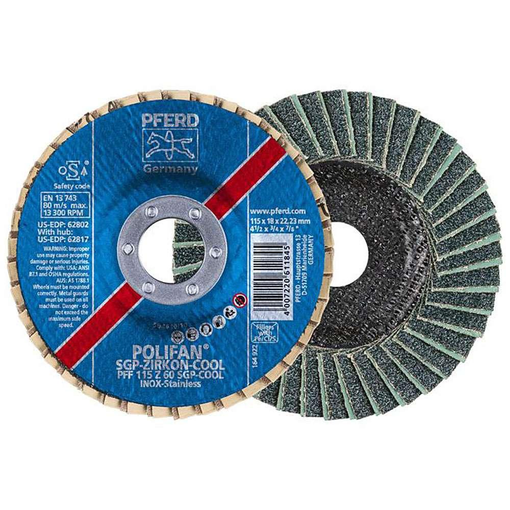 Fächerschleifscheibe - PFERD POLIFAN® - für INOX - flache Ausführung COOL - Preis per Stück