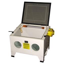 Strahlkabine Hobby Tischgerät - mit Absaughilfe - Außenmaße 630 x 595 x 495 mm - Gewicht 22,5 kg