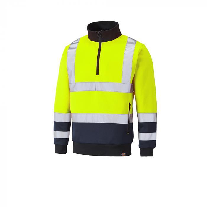 Sweatshirt för blixtlås med blixtlås - Dickies - mycket synlig - tvåfärgad - storlekar S till 4XL - gul / marinblå