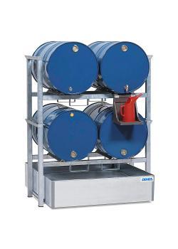 Fassregal AWS 1 - Auffangwanne aus Stahl - Auffangvolumen 400 l - Kannenträger PE - für 4 Fässer á 200 Liter