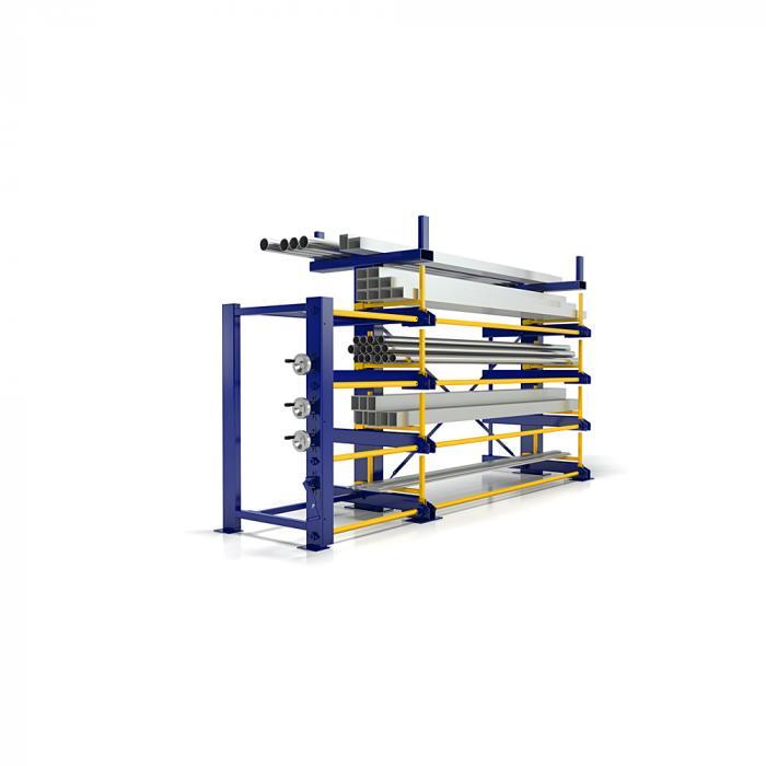Avrullningsbar hylltyp RRA-E - tillverkad i rörformat stål - med manuell utdragning - ensidig - fyra nivåer - användbart djup 560 mm - användbar höjd 300 mm - olika utföranden