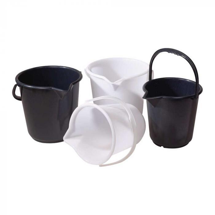 Skopa HDPE - svart eller vit - med pip och skala - innehåll 10,5 l eller 17 l
