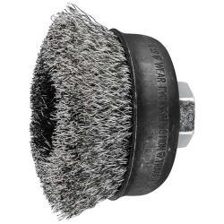 Topfbürste - PFERD - ungezopft, aus INOX - mit Gewinde - für Edelstahl - Bezeichnung TBU 75/M14 INOX 0,30 - Bürsten-Ø 75 mm - Besatzlänge 25 mm