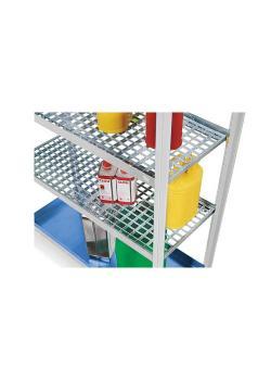 Griglia - zincata - come livello di stoccaggio aggiuntivo per scaffali per merci pericolose - vari design