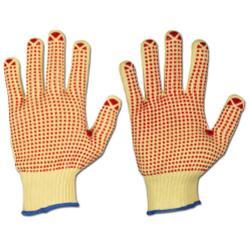 Handskar - KEVLAR - stickade - gul-röd - stl 7 - noppor - utförsäljning