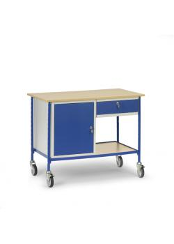Rolling table - with 1 steel cabinet and 1 sliding drawer