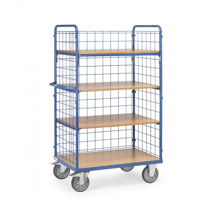 Shelved trolley - 4 shelves made of wood - 3 wire mesh walls - 600 kg