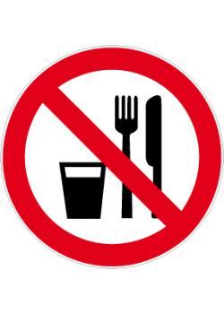 """Förbudsskylt """"förbjudet att äta och dricka"""" - Ø 5-40 cm"""