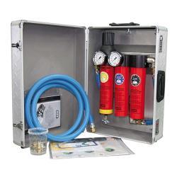 SATA filter 484 mobil - Filtertechnik - 3-stufiger Sinterfilter / Feinfilter / Aktivkohle mit Druckregler und Abgangsmodul (2 x Schnellkupplung) - 13 mm Druckluftschlauch im Trolley