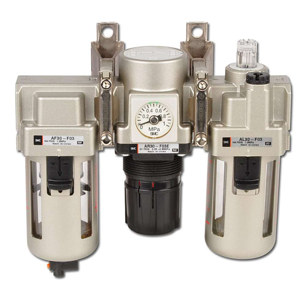 SMC Filterregle - 8,5bar 5µm + Tropfenöler man. Kondensatablass