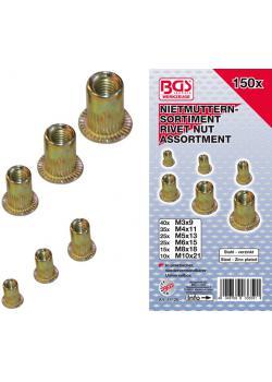 Set of rivet nuts - galvanized steel - 150 pcs.