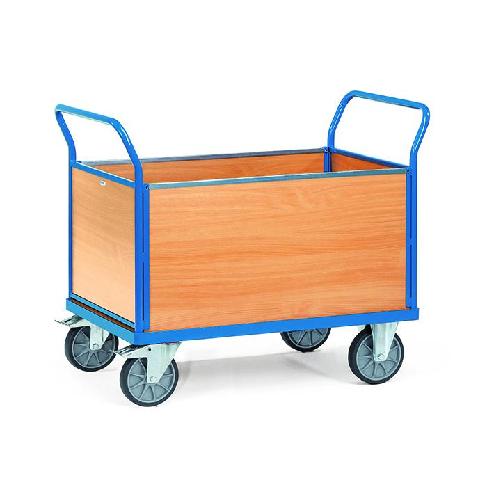 Four trolley - with 4 wooden walls - up to 600 kg
