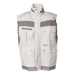 Restposten - Arbeitsweste - Gr. XS - Farbe weiß/zink - 65 % Polyester, 35 % Baumwolle