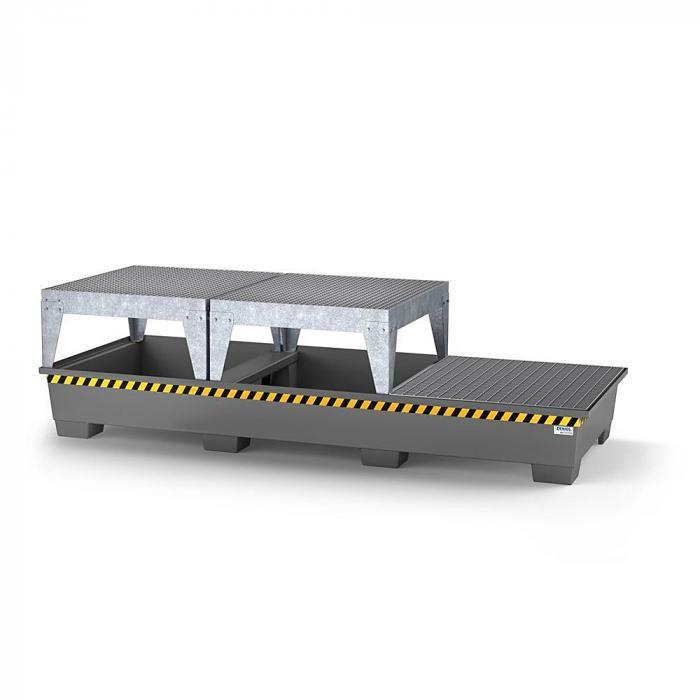 Auffangwanne pro-line - Stahl lackiert oder verzinkt - für 3 IBC - 2 Abfüllböcke und 1 Gitterrost