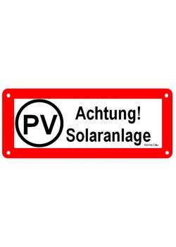 """Logga för solcellsanläggningar - """"PV solsystem Varning!"""""""