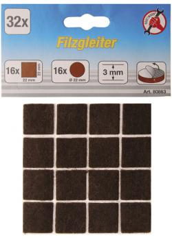 Felt pads assortment - round and square - brown - height 3 mm - 32 pcs.