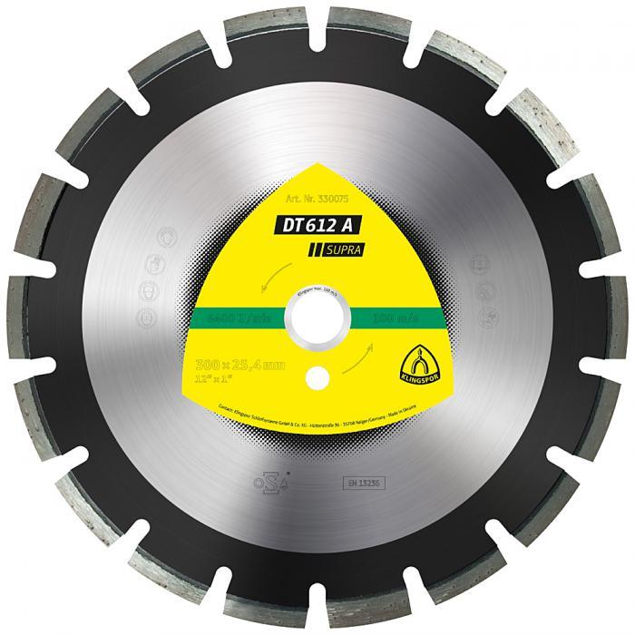 Diamanttrennscheibe DT 612 A - Durchmesser 300 bis 500 mm - Bohrung 25,4 mm - lasergeschweißt - weit verzahnt