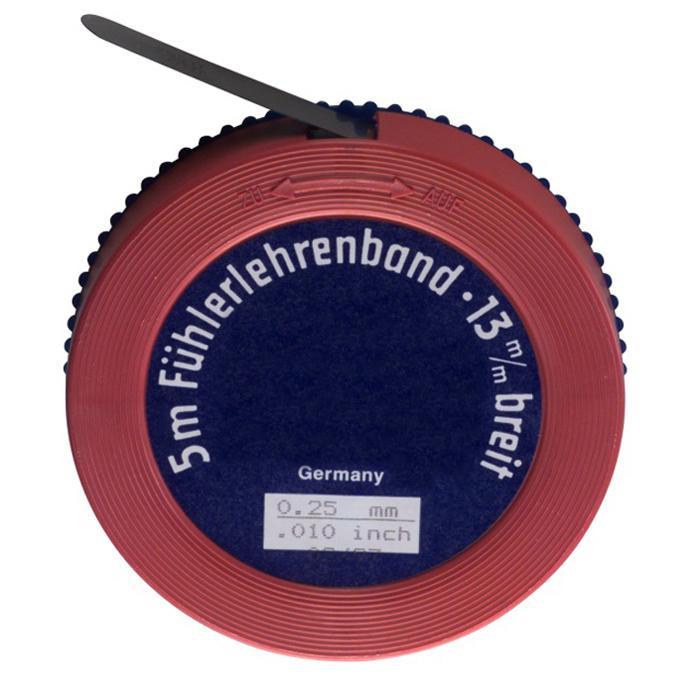 Fühlerlehrenband - Maße (L x B) 5 m x 13 mm - Material gehärteter Stahl - Stärke von 0,01 bis 0,95 mm
