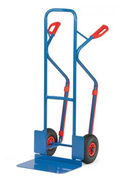 Tubular steel trolley - 300 kg - Height 1300 mm - wide blade - Solid rubber