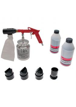 Compressed air sandblasting gun with accessories and blasting material - grit from 46 to 100 - 6 to 8 bar