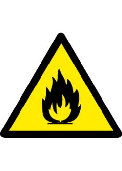 """Varningsskylt """"brandfarliga ämnen"""" - sidolängd 5-40 cm"""